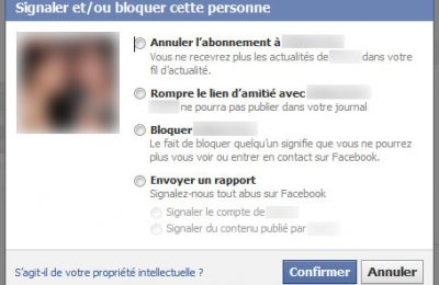 Contacts Facebook bloqués